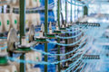 Wool cabling process close up a shot of shallow dof and focus on industrial elements of modern machinery Royalty Free Stock Image