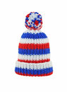 Wool hat in red white and blue isolated on white Royalty Free Stock Photo