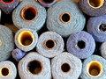 Wool industrial blue in the manufacturing room Stock Photos