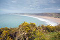 Woolacombe bay and beach devon england from the south west coast path Stock Photography