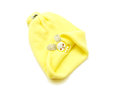 Woolen cap a yellow knitted isolated on white Royalty Free Stock Photos