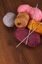 Woolen Colors on the Wood Royalty Free Stock Photo