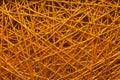 Woolen spun yarns woolen spun yarns between iron nails woolen spun yarns between iron nails on a wooden base Stock Images