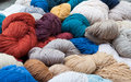 Woolen yarn natural colorful hand spinned at handicraft fair Stock Photo