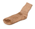 Woollen sock single isolated on white background Royalty Free Stock Photo