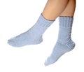 Woollen socks woman legs in on white background Stock Image