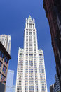 Woolworth building in new york the old with deep blue sky Royalty Free Stock Images