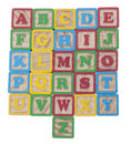 Wooned cubes alphabet Royalty Free Stock Images