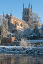 Worcester cathedral on a cold day in winter Stock Image