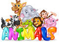 Word animal with cartoon wild animal Royalty Free Stock Photo