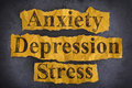 Word Anxiety, Depression and Stress Royalty Free Stock Photo