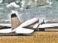 Word art illustration of a dc transport aircraft an ancient twin engine laying on the ground referring to concepts such as retro Stock Photography
