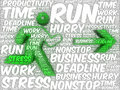 Word art illustration of a running human followed by an arrow stylized silhouette referring to concepts such as stress deadlines Royalty Free Stock Image