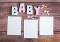 Word baby and white frame photo Royalty Free Stock Photo