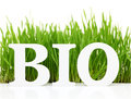Word bio with fresh grass isolated on white Royalty Free Stock Photos