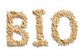 Word bio made of wood pellets Stock Images