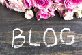 Word Blog With Pink Roses On A...