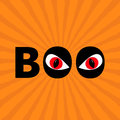 Word BOO text with red eyes. Evil eyeballs. Royalty Free Stock Photo
