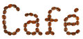 A word cafe written with coffee beans on white background Royalty Free Stock Photo