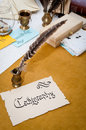 Word Calligraphy written on old paper with calligraphy tools in Royalty Free Stock Photo