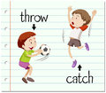 Word card throw and catch illustration Royalty Free Stock Photo