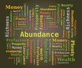 Word cloud abundance money prosperity profusion green letters dark background Stock Photos