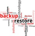 Word cloud - backup restore Stock Photo