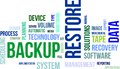 Word cloud backup restore a of related items Stock Photography