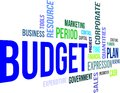 Word cloud budget a of related items Stock Photo