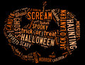 Word cloud dealing with halloween showing words in the shape of a jack o lantern on a black background Royalty Free Stock Photos