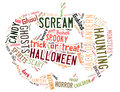 Word cloud dealing with halloween showing words in the shape of a jack o lantern on a white background Stock Image