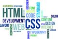 Word cloud html and css a of related items Stock Photo