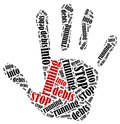 Word cloud illustration in shape of hand print showing protest stop running into debts Stock Photos