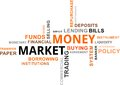 Word cloud money market a of related items Stock Photography