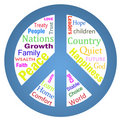 Word cloud peace symbol Royalty Free Stock Photos
