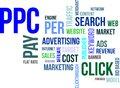 Word cloud ppc a of pay per click related items Stock Image