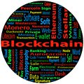 Blockchain, word cloud concept on black background. Royalty Free Stock Photo