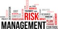 Word cloud risk management a of related items Stock Photos
