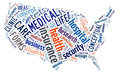 Word cloud showing medical and insurance terms in the shape of the united states words dealing with health medicine Stock Photos