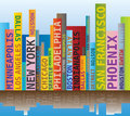 Word cloud skyline shape with usa towns cities names multicolored Stock Images