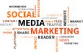 Word cloud social media marketing a of related items Stock Photo