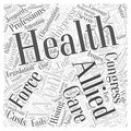 Word cloud text background concept experts say the allied health work force is in jeopardy Royalty Free Stock Images