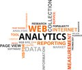 Word cloud - web analytics Stock Images