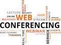 Word cloud web conferencing a of related items Stock Photography
