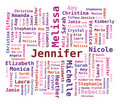 Word Cloud Women's Names Stock Photo