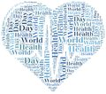 Word cloud world health day related in shape of heart with heartbeat Stock Image