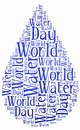 Word cloud world water day or water saving related in shape of drop holiday celebrated on march Royalty Free Stock Images