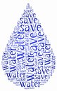 Word cloud world water day or water saving related in shape of drop holiday celebrated on march Stock Photo