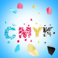 Word CMYK broken into pieces background Royalty Free Stock Images