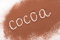 Word cocoa written in cocoa powder isolated on white background Royalty Free Stock Photo
